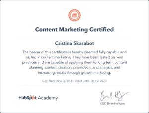 Certificazione Hubspot Content Marketing