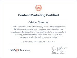 Certificazione Hubspot Content Marketing