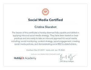 CERTIFICATO SOCIAL MEDIA HUBSPOT
